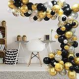 AivaToba Ballon Noir Blanc Or, 100pcs Arche de Ballon Kit ,Guirlande...