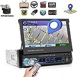 1 Din Autoradio Bluetooth - Podofo Navigation GPS Poste Radio Voiture - dans Dash Lecteur Audio de Voiture 7 Pouces HD Écran Tactile Voiture Vidéo Player FM AUX USB SD avec Caméra de Recul Gratuite