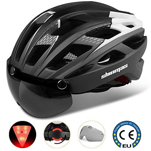 Casco Bici con Luce di LED,Certificato CE, Casco con Visiera Magnetica Staccabile Shield Casco da Bici Super Leggero...