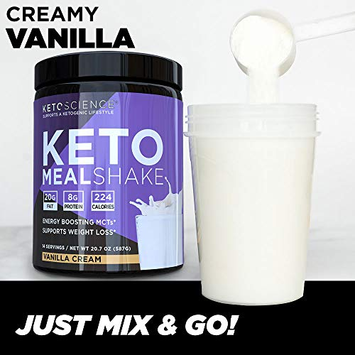 Keto Science Ketogenic Meal Shake Vanilla Dietary Supplement, Rich in MCTs and Protein, Paleo Friendly, Weight Loss, 14 servings, 20.7 oz Packaging May Vary 5