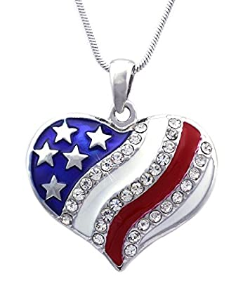 Pendant size: approx.1.125 Inch Wide(across the pendant), 1 Inch Long Chain: 18 Inch Chain (16 Inch Snake Chain with 2 Inch Extension) Stone/Color: High Quality Crystals / Clear Material: Lead, Cadmium, and Nickel Free Environmental Friendly Alloy, C...