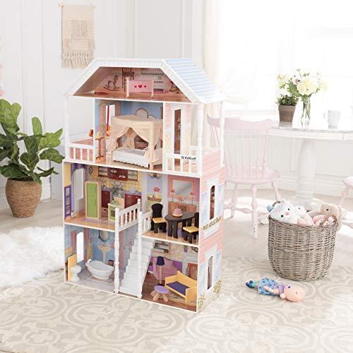Image 13 - Kidkraft - 65023 - Maison de Poupées en Bois Savannah Incluant Accessoires et Mobilier, 4 Étages de Jeu pour Poupées 30 cm