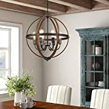Riomasee Orb Chandeliers 6-Light Rustic Farmhouse Chandelier Lighting Stardust Finish Dining Room Lighting Fixtures Hanging for Foyer,Dining,Living Room