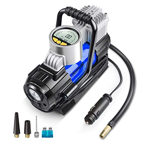 AstroAI Portable Air Compressor Pump, Digital Tire Inflator 12V DC Electric Gauge with Larger Air Flow 35L/Min, LED Light, Overheat Protection, Extra Nozzle Adaptors and Fuse, Blue