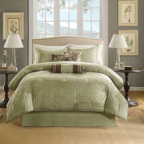 Madison Park Freeport King Size Bed Comforter Set Bed in A Bag - Green, Jacquard Palm Leaf – 7 Pieces Bedding Sets – Peach Skin Fabric Bedroom Comforters