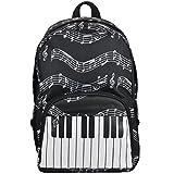 PUNK Sac à dos d'écolier à motifs de notes de musique, tissu Oxford (4couleurs) Keyboard black