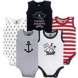 Hudson baby Unisex Baby Sleeveless Cotton Bodysuits, Pirate Ship 5-Pack, 6-9 Months (9M)