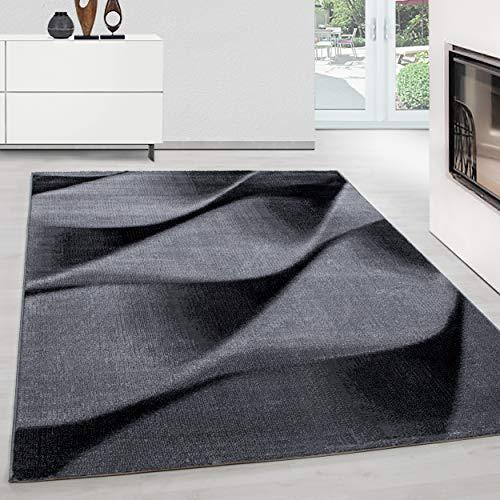 Teppium Tappeto Design Moderno Tappeto rettangolo Facile Cura Onde astratte Nero, Dimensione:160 cm...