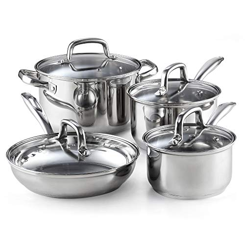 Cook N Home 8-Piece Stainless Steel Cookware Set, Silver