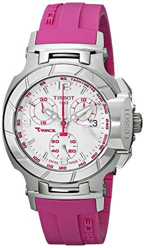 Tissot T0482171701701 T-Race Damen-Armbanduhr, weißes Zifferblatt, rosa Silikon-Armband