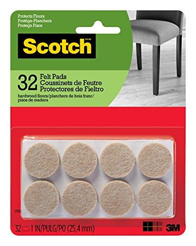 Scotch Felt Pads, Felt Furniture Pads for Protecting Hardwood Floors, Round, 1 in. Diameter, Beige, 32 Pads