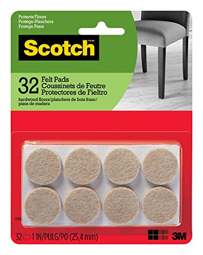 Scotch Mounting, Fastening & Surface Protection SP802-NA Scotch Brand 3M, for protecting wood floors, Round, 1 in. Diameter, Beige, 32/Pack Felt Pads, 32 Pack