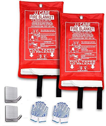JJ Care Fire Blanket (2 Pack) Fire Fighting Fire Safety Kit Fiberglass Cloth (40'x40')...