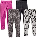 Amazon Brand - Spotted Zebra Big Girls' 4-Pack Leggings, Math, Medium