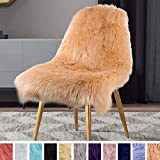 LOCHAS Deluxe Super Soft Fluffy Shaggy Home Decor Faux Sheepskin Silky Rug for Bedroom Floor Sofa Chair, Chair Cover Seat Pad Couch Pad Area Carpet, 2ft x 3ft, Light Orange
