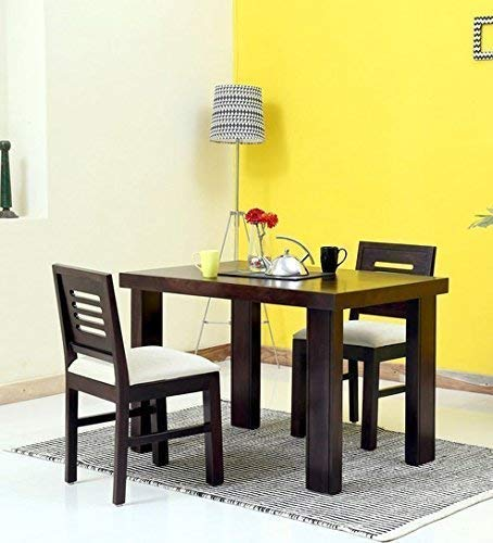 Krishna Wood Decor Sheesham Wood Dining Table 2 Seater | Wooden Dinning Room Furniture | 2 Chairs with Cushion & Table | Warm Chestnut Finish