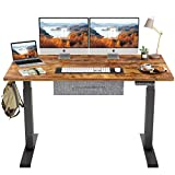 FEZIBO Electric Height Adjustable Standing Desk, 55 x 24 Inches Splice Board, Black Frame/Dark Rustic Brown Top