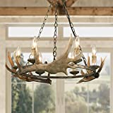 LOG BARN Farmhouse Faux Antlers Chandelier in Hand-Polished Resin and Rusty Metal Finish 27' Large Pendant Lighting for Kitchen Island, 6 Dining Room, Shabby Chic Decor