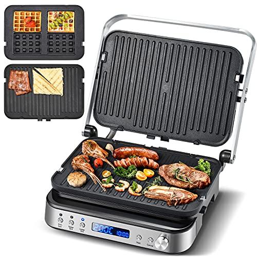 AMZCHEF 2000W 3 en 1 Gril viande Multifonction/Presse à paninis/Gaufrier/Appareil à Sandwichs avec Ouverture à 180º,température réglables,4 assiettes antiadhésives (gril&gaufre),Indicateur LED