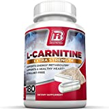 BRI L-Carnitine - 1000mg Premium Quality Carnitine Amino Acid Natural Fat Burner Supports Athletic Performance, Stamina and Heart Health; Stimulant Free Vegetable Cellulose Capsules (180 Count)