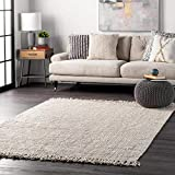 nuLOOM Hand Woven Chunky Natural Jute Farmhouse Area Rug, 6' x 9', Off-white
