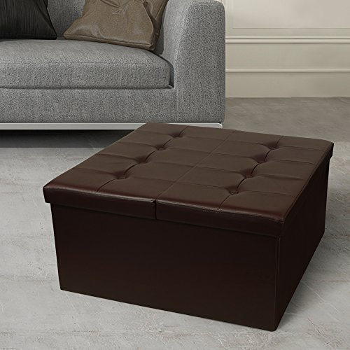 Otto & Ben Coffee Table with Smart Lift Top Tufted Folding Faux Leather Trunk Ottomans Bench Foot Rest, 30' Square, Chocolate