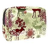 Bolsa de maquillaje portátil con cremallera bolsa de aseo de viaje para mujeres práctico almacenamiento cosmético bolsa de reno con mandala floral