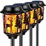 TomCare Solar Lights Christmas Decoration Lights Metal Flickering Flame Solar Torches Lights Waterproof Heavy Duty Outdoor Solar Pathway Lights Landscape Lighting for Garden Patio Yard, 4 Pack