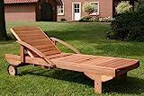 Hecht Gartenliege rollbare Sonnenliege mit Verstellbarer Rückenlehne und ausziehbarer Ablage - 2