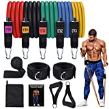 AQUAJOY Resistance Bands Set, Exercise Bands with Handles,Door Anchor, at Home Workouts Weights Fitness Bands for Body Muscle Trainning, Best Gifts Gym Accessories for Men