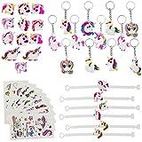 BUZIFU Kit de 40 Pcs Objet de Licorne Multicolore 12 Bagues 12 Porte-clés 6 Bracelets 10...