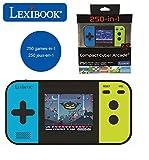 LEXIBOOK- Compact Cyber Arcade Consola portátil, 250 Juegos, LCD, con Pilas, Videojuego niño Adolescente, Negro/Azul/Verde, Color (China)