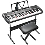 LAGRIMA LAG-750 61 Key Electric Keyboard Piano with H Stand, Light Up Keys for Beginner, Lighted Portable Keyboard w/Bag, Micphone, Power Supply, Music Stand, Adjustable Stool, Black