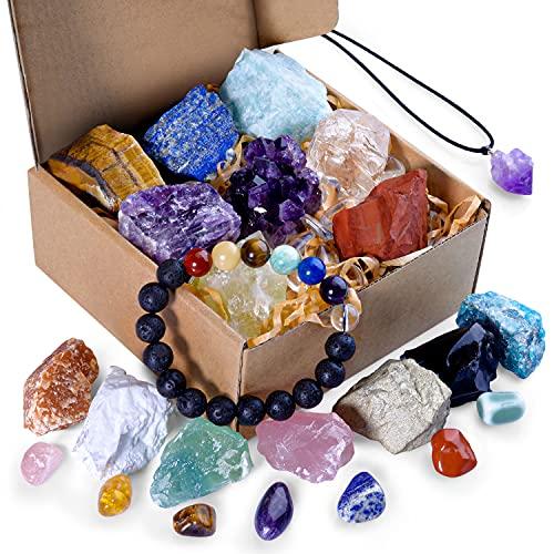 AOOVOO Crystals and Healing Stones, Healing Crystals Set Raw...