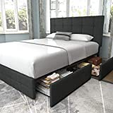 Allewie Queen Platform Bed Frame with 4 Drawers Storage and Headboard, Square Stitched Button Tufted Upholstered Mattress Foundation with Wood Slat Support, No Box Spring Needed, Dark Grey