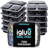 [10er Pack] 3-Fach Meal Prep Container Von Igluu - Essensbox, Lunchbox Mikrowellengeeignet, Spülmaschinenfest Und Wiederverwendbar - Luftdichter Deckelverschluss, BPA Frei - Kostenfreies eBook