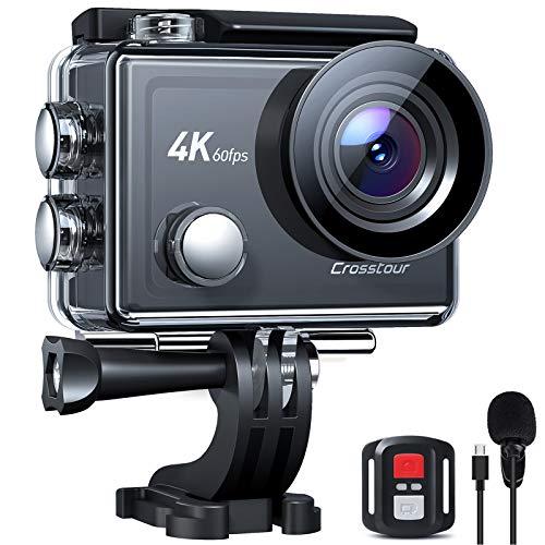 Crosstour Action Cam Nativo 4K 60FPS 20MP Touch Screen Zoom 8X Microfono Esterno, Stabilizzazione...