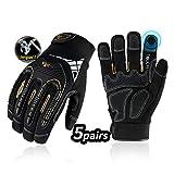 Vgo 5Pairs High Dexterity Heavy Duty Mechanic Glove, Rigger Glove, Anti-vibration, Anti-abrasion, Touchscreen (Size XL, Black, SL8849)