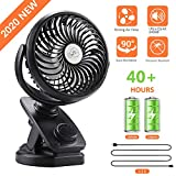 COMLIFE F170 Clip On Stroller Fan, Auto Oscillation Fan,Battery Operated Fan, Mosquito-Repellent/Aroma Diffuser Function, Stepless Speeds Control, Powerful Airflow for Camping, Office, Car