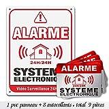 Autocollants dissuasifs Alarme, Stickers Alarme sécurité, 6x8cm, Lot de 8...