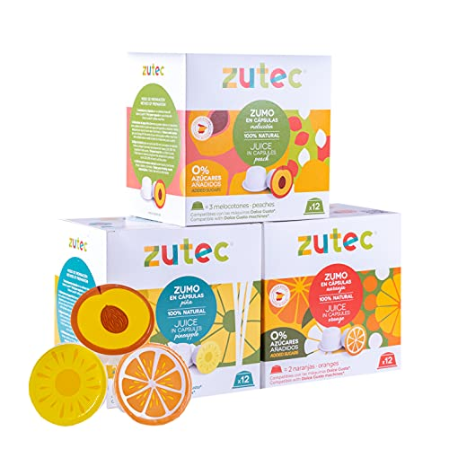 Zutec - Capsule di succo Assortiti (Arancia, Ananas e Pesca) Naturale al 100% - Compatibile con macchine da caffè Dolce Gusto* - 3 Scatole di 12 capsule - 36 capsule