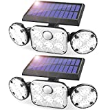Solar Motion Lights Outdoor, 2 Pack RJFOYB 3 Heads Solar Flood Lights Outdoor with Motion Sensor,...