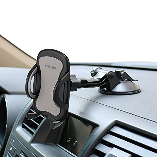 Car Phone Mount,OHLPRO Cell Phone Holder Car Dash Windshield Dashboard Universal 360Adjustable Rotating for iPhone Samsung Sony Google All 4'- 6.4' Smartphones (Silver)