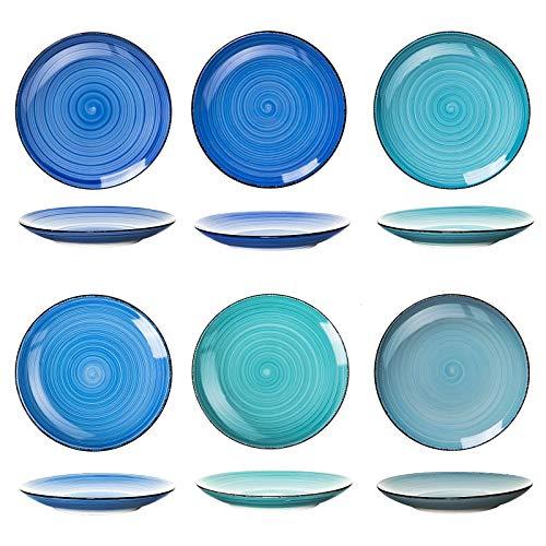esto24 Design 6er Set große Speiseteller Porzellan Geschirr in tollen Farben für Ihre liebsten Speisen(Teller Blau Töne)