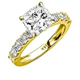 2 Carat 14K Yellow Gold Classic Side Stone Prong Set GIA Certified Princess Cut Diamond Engagement...