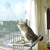Cat Bed Window, Cat Window Hammock Window Perch , Safety Cat Shelves Space Saving Window Mounted Cat Seat for Large Cats (Beige Premium Set)