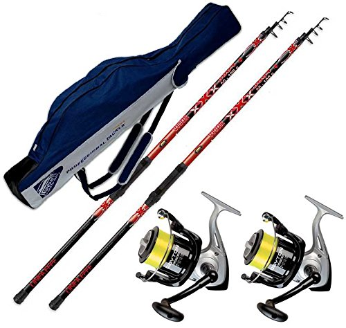 Evo fishing Kit Pesca Surf 2 canne Vigor XXX 4,20 m 50-100 Gr + 2 mulinelli TRABUCCO Dayton 6500 + 1 Fodero