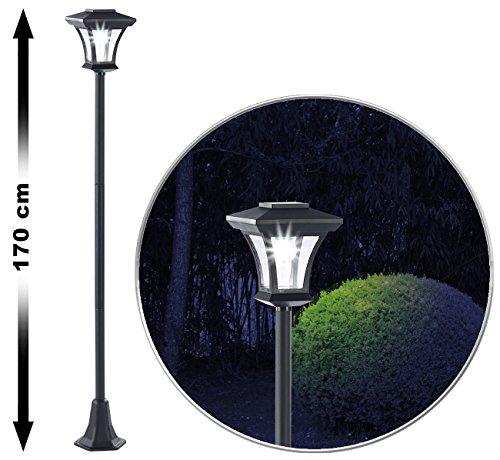 Royal Gardineer Solarlaterne Garten: Solar-LED-Gartenlaterne SWL-20, 0,18 Watt, 12 Lumen, IP44, 170 cm hoch (Solar Standlaternen Garten)