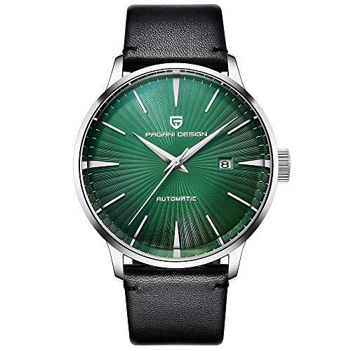 Smartwatches,Watch Machinery Watch Trend Business Herrenuhr Wasserdichter Ledergürtel Grün