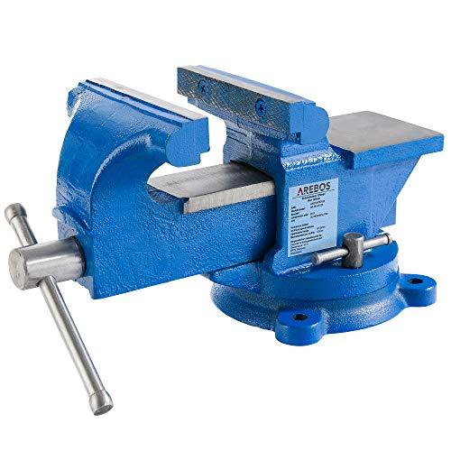 Arebos Schraubstock 125 mm / 360° drehbar/mit Amboss/blau